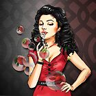 Retro Pinup Girl Blowing Strawberry Bubbles by colormegirly