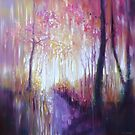 October Glows - an autumn wood abstract painting by Gill Bustamante
