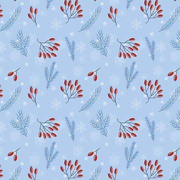 Winter Pattern With Rosehip and Pine Branches by shadowisper