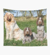 Italian Spinoni Orange and White Adult with Brown Roan Puppies Portrait Wall Tapestry