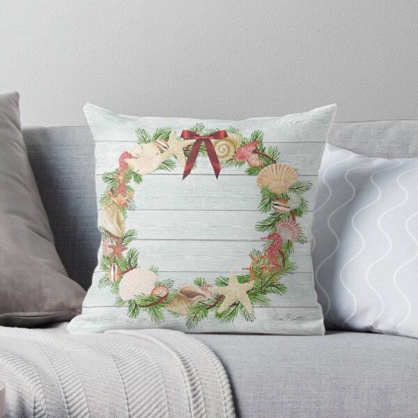 Coastal Christmas D Throw Pillow