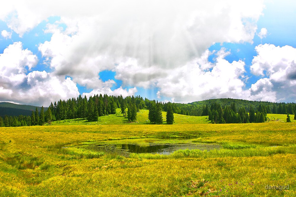 Alpine plateau in vivid colors. by demigod