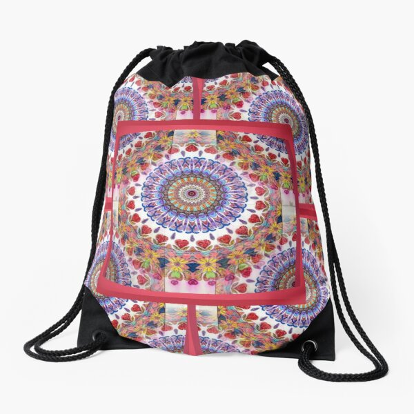 Style Old Colored Lace Fall Into Winter Design at Green Bee Mee Drawstring Bag