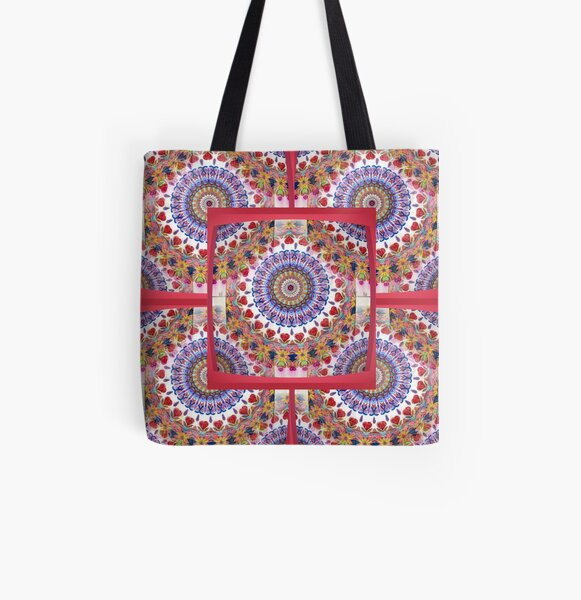 Style Old Colored Lace Fall Into Winter Design at Green Bee Mee All Over Print Tote Bag