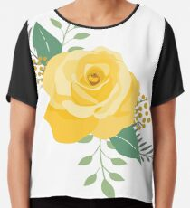 Yellow Rose of Texas - Western Single Rose Chiffon Top