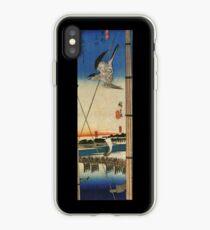 A Cuckoo Flying Past Masts by Utagawa Hiroshige (Reproduction) iPhone Case