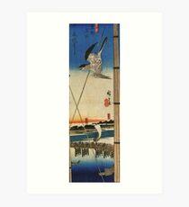 A Cuckoo Flying Past Masts by Utagawa Hiroshige (Reproduction) Art Print