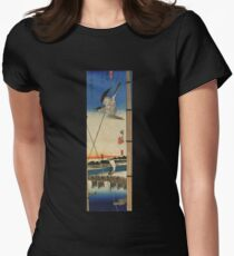 A Cuckoo Flying Past Masts by Utagawa Hiroshige (Reproduction) Women's Fitted T-Shirt