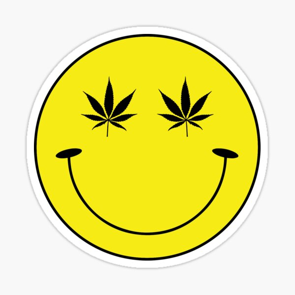 Stoned Smiley Face Sticker
