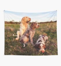 Italian Spinone Orange and White Adult with Brown Roan Puppies Portrait Wall Tapestry