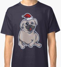 Adorable Christmas pug dog with Santa hat Classic T-Shirt