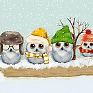 Four Winter Owls by Ruth Moratz