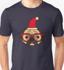 Smiling and happy pug dog with glasses ready for Christmas time Unisex T-Shirt