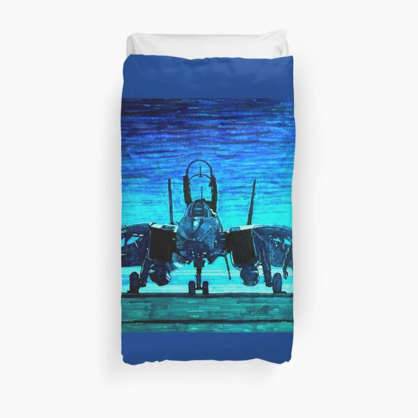 moonlight mission-an f14 tomcat fighter pilot walks to his plane Duvet Cover