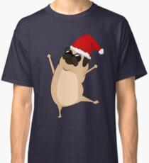 Happy and dancing Christmas pug dog Classic T-Shirt