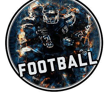 Football Team Hot Red Blue Fire Art GraphicYouth Helmet Jersey on White by GabiBlaze