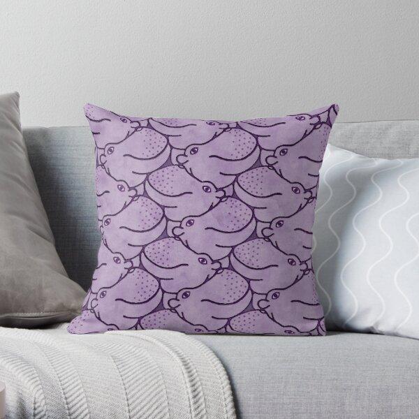 Heads Up Hippos - purple Throw Pillow