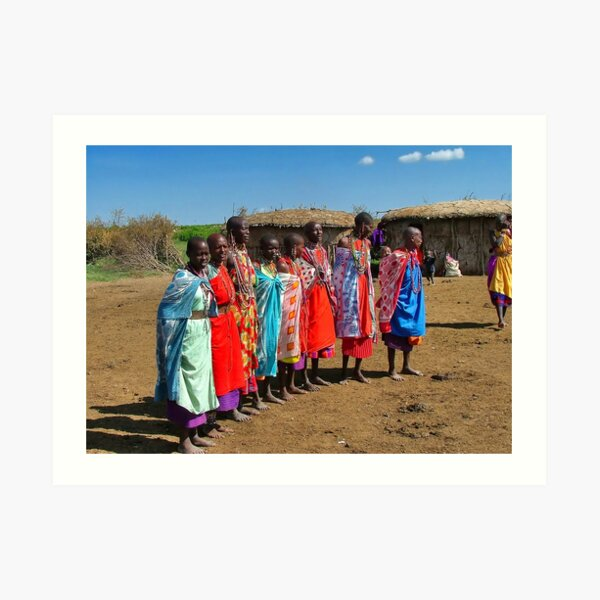 Colorful Masai Women Art Print