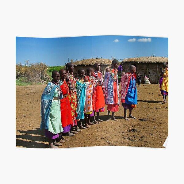 Colorful Masai Women Poster