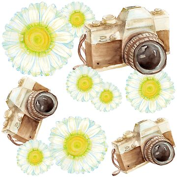 pattern. camera with flowers  by lisenok