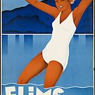 Vintage Flims Suisse Retro Travel Advertisement Art Posters by jnniepce