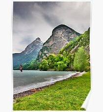 Surfing on a lake Poster