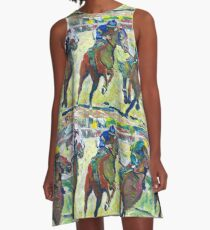 At The Horse Races, Horse Picture A-Line Dress