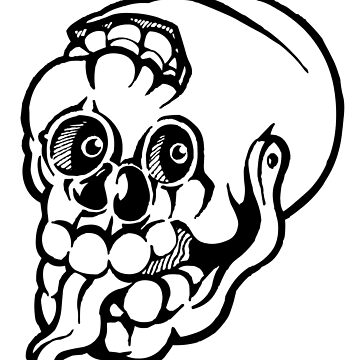 Black and white cracked skull with braindamage and has its tongue out. by markdalderup
