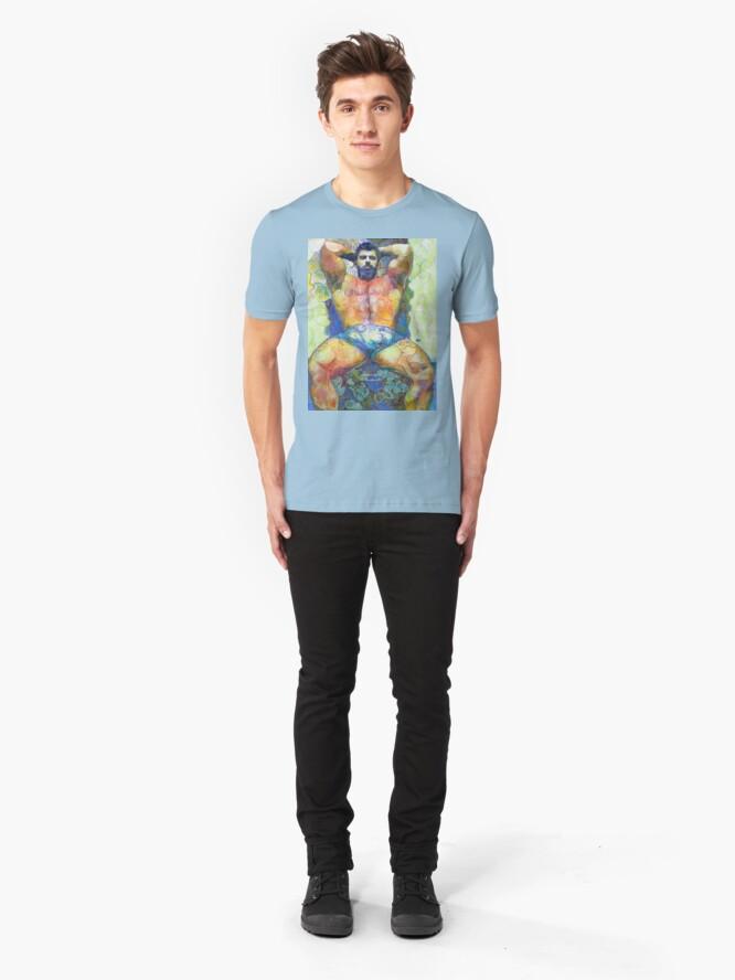Alternate view of Garden Bear by RD Riccoboni - Naughty Boy Painting  Slim Fit T-Shirt