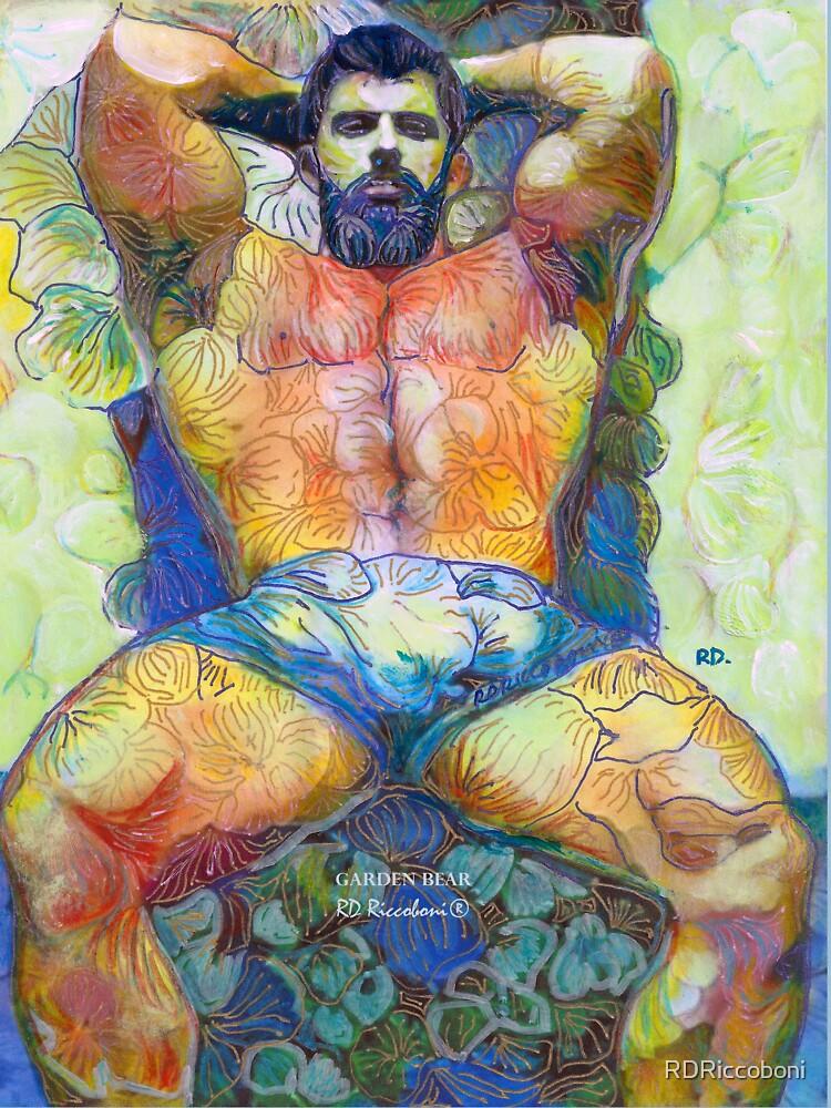 Garden Bear by RD Riccoboni - Naughty Boy Painting  by RDRiccoboni