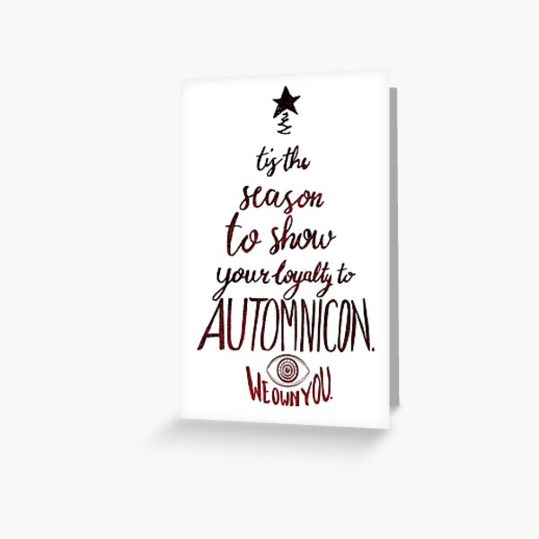Automnicon Red on White Greeting Card