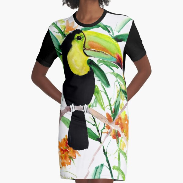 Toucan in Jungle Graphic T-Shirt Dress