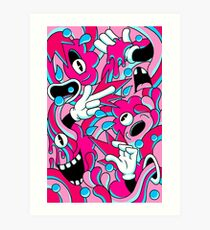 Neon Cartoon Mess Art Print