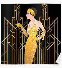 Kunst-Deko-Dame, Kunst-Dekomuster, Ära 1920, Prallplattenmädchen, der große Gatsby, Schwarzes, Gold, Kunst-Deko, Vintag, elegant, Chic, modern, modisch Poster