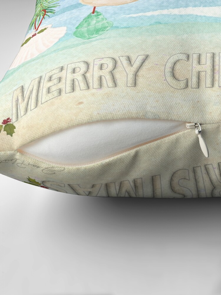 Alternate view of Coastal Christmas E Throw Pillow