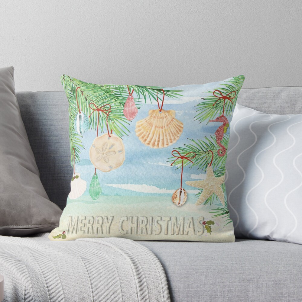 Coastal Christmas E Throw Pillow