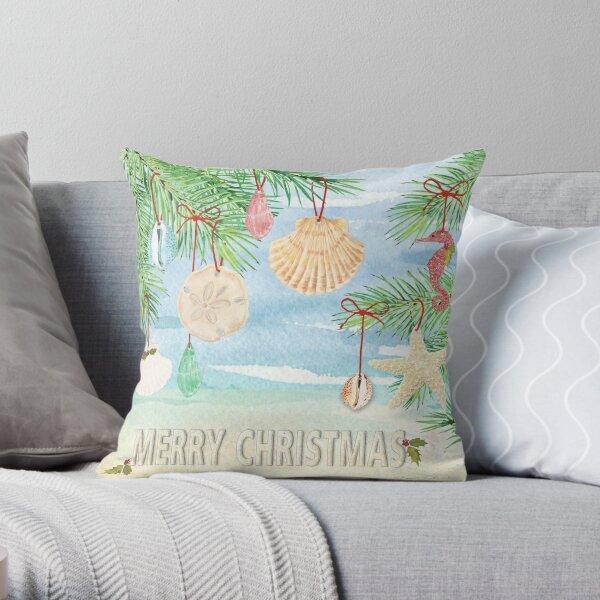 Coastal Christmas E Throw Pillow