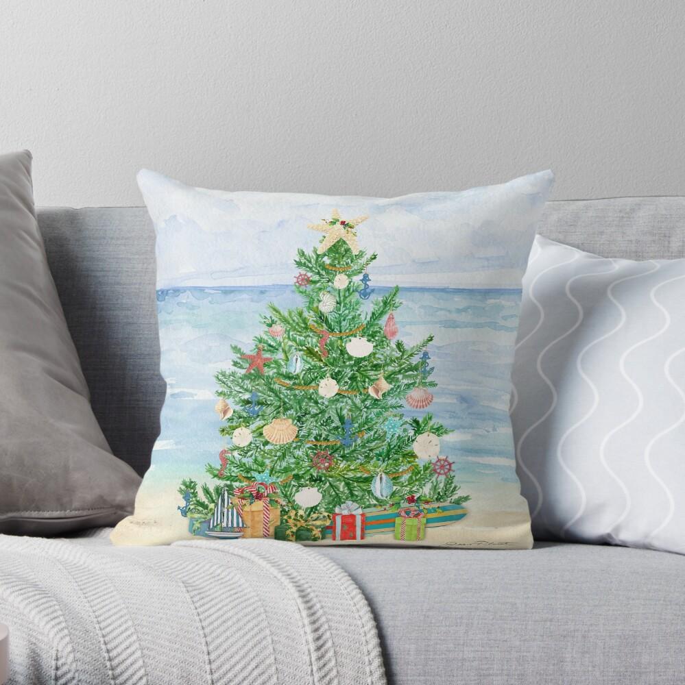 Coastal Christmas B Throw Pillow