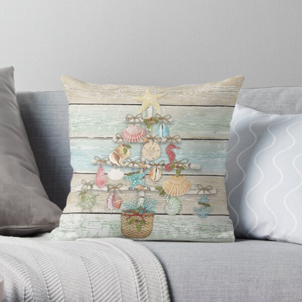Coastal Christmas A Throw Pillow