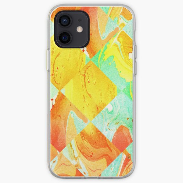 Yellow Orange and Green Colorful Abstract Geometric Marble Pattern  iPhone Soft Case