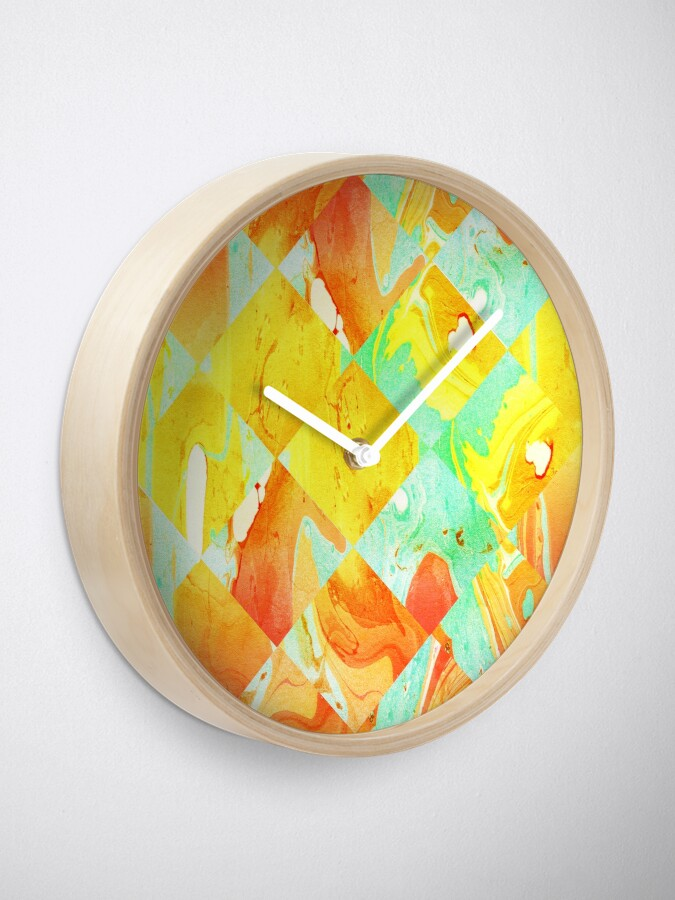 Alternate view of Yellow Orange and Green Colorful Abstract Geometric Marble Pattern  Clock