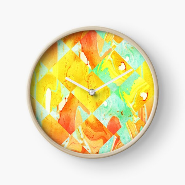 Yellow Orange and Green Colorful Abstract Geometric Marble Pattern  Clock