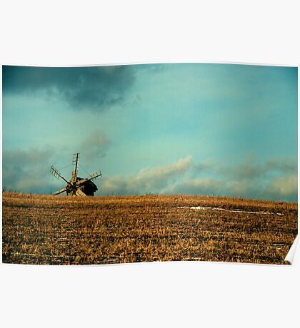 a mill is in the field of wheat Poster
