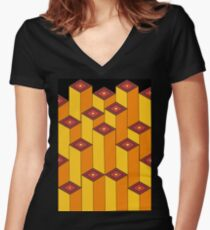 Blocks (black background) Women's Fitted V-Neck T-Shirt