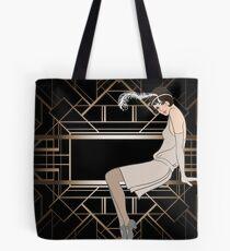 Art deco,gold,black,pattern,cute,Flapper girl,beautiful,elegant,chic,The Great Gatsby,vintage,retro, Tote Bag