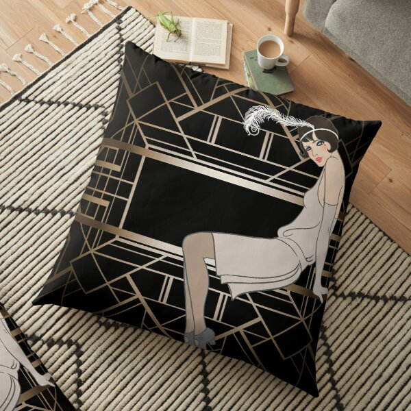 Art deco,gold,black,pattern,cute,Flapper girl,beautiful,elegant,chic,The Great Gatsby,vintage,retro, Floor Pillow