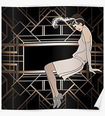 Art Deco, Gold, schwarz, Muster, niedlich, Flapper Mädchen, schön, elegant, schick, The Great Gatsby, Vintage, Retro, Poster