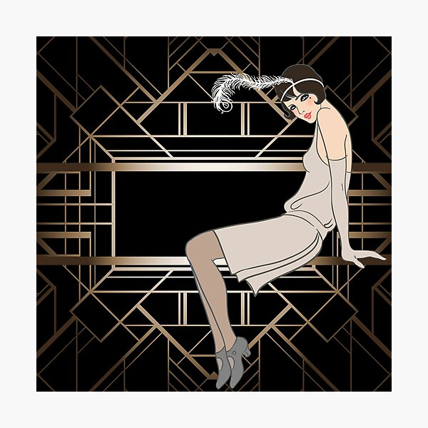 Art deco,gold,black,pattern,cute,Flapper girl,beautiful,elegant,chic,The Great Gatsby,vintage,retro, Photographic Print