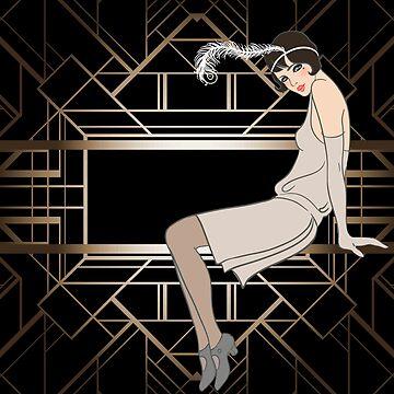 Art deco,gold,black,pattern,cute,Flapper girl,beautiful,elegant,chic,The Great Gatsby,vintage,retro, by love999
