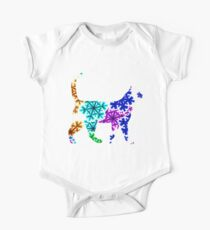 White Cat Showflake Rainbow One Piece - Short Sleeve